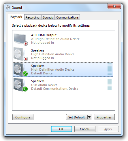 The Sound panel in Windows 7 showing four playback devices.