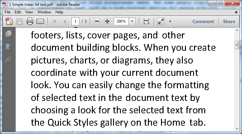 With reflow Adobe Reader fits text across the width of the display.