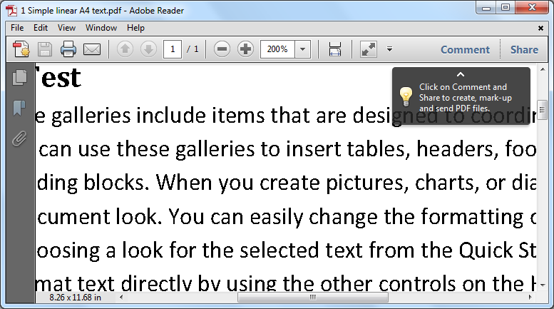 A horizontal scrollbar appears in Adobe Reader when you zoom in