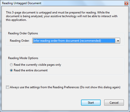 Reading untagged document dialogue