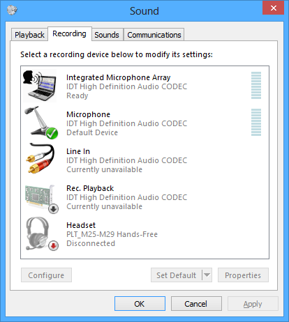 The Recording tab in the Sound control panel in Microsoft Windows