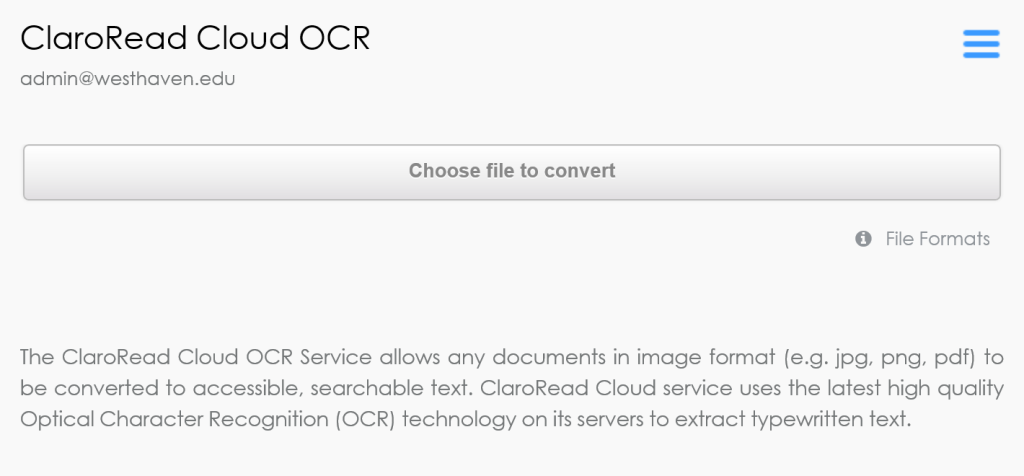 Cloud OCR web page, showing the main controls.