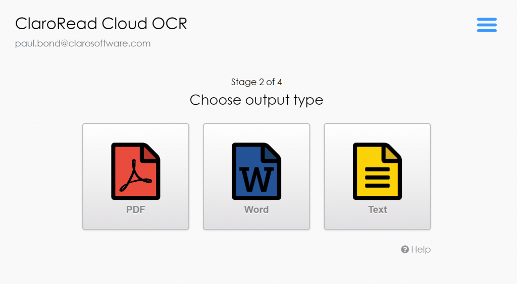 Three output options, PDF, Word and Text.