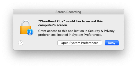 """ClaroRead Plus"" would like to record this computer's screen."