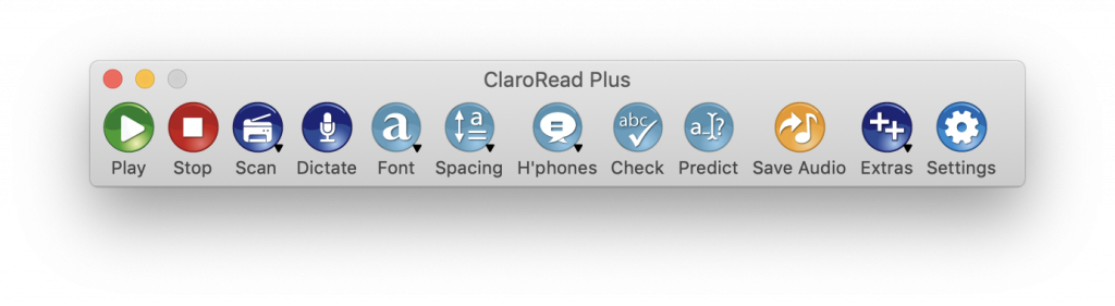 ClaroRead Mac V7 Toolbar