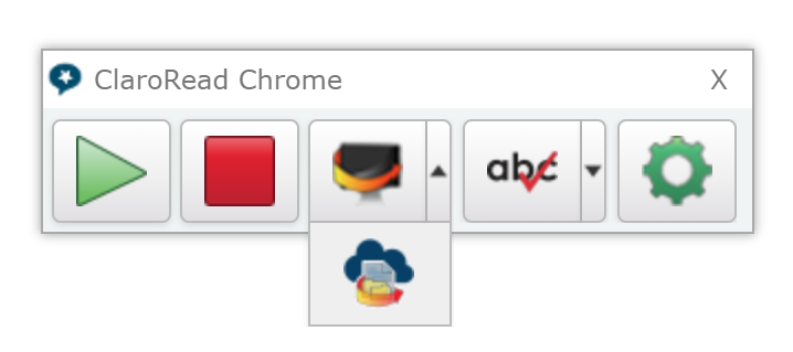 The ClaroRead Chrome toolbar showing the dropdown with the OCR button.