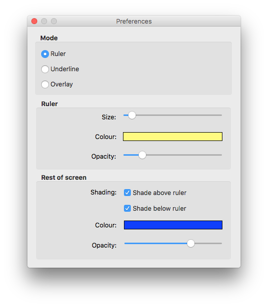 ScreenRuler for Mac Perferences