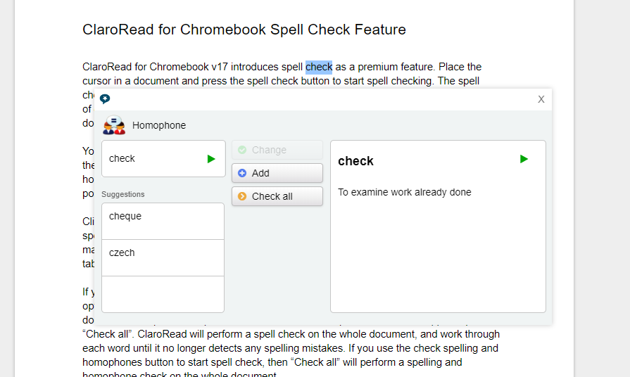 ClaroRead Chrome Homophone Checker Demonstration Screenshot