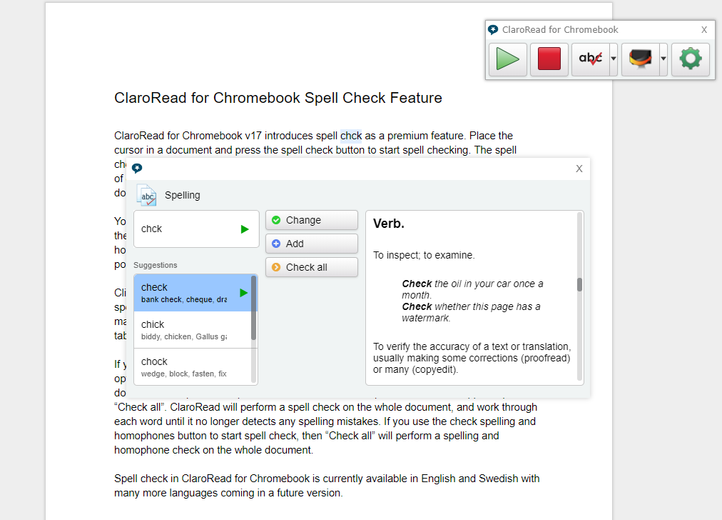 ClaroRead Chrome Spellcheck Demonstration Screenshot