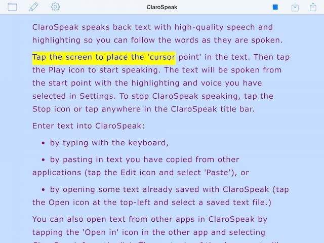 ClaroSpeak Visual Highlighting