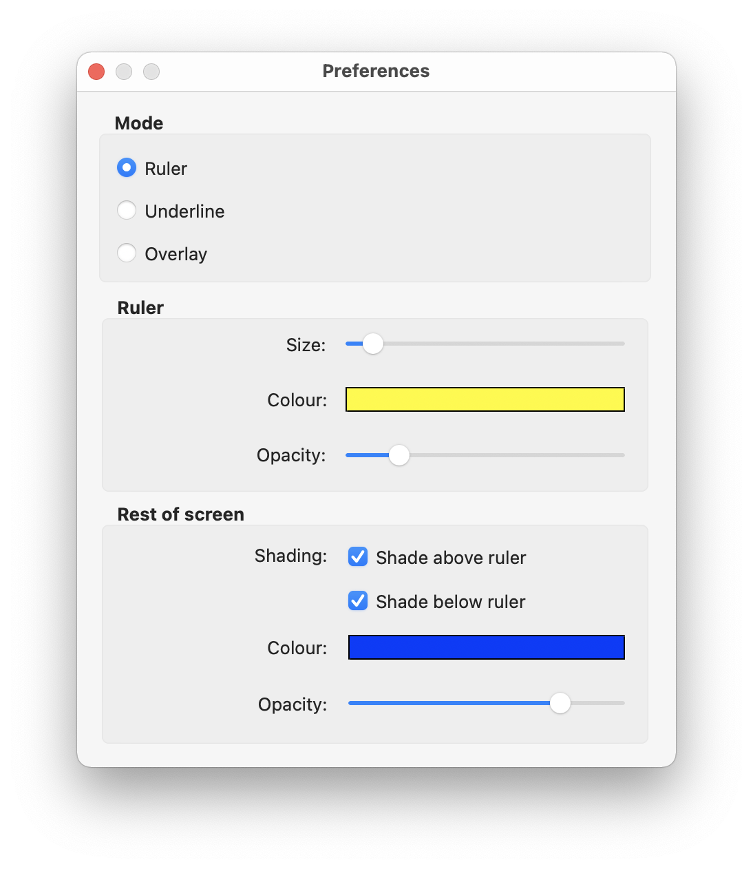 ScreenRuler for Mac Preferences